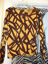 COLLEEN LOPEZ My Favorite Things Brown & Gold Blouse  Size L