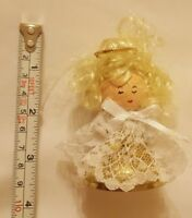 Christmas xmas Angel with Curly Blonde Hair vintage tree holiday season Ornament