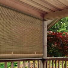 Cordless Roll Up Blind Sun Shade Outdoor Patio Deck UV Protection Brown 4W x 6