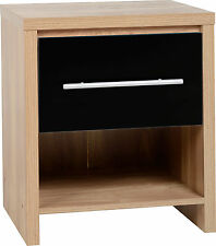 Seville 1 Drawer Bedside Cabinet Light Oak Veneer Black High Gloss
