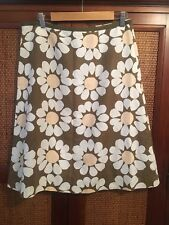 Laura Ashley Linen Floral Khaki  White Skirt 14