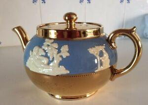 Vintage Gibsons Tea Pot Staffordshire England Gold Jasperware Blue Teapot