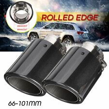2X Inlet 2.5'' Outlet 4'' Carbon Fiber Car Exhaust Pipe Tail Muffler End Tip US