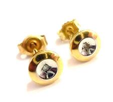 kleine runde Solitär Goldohrringe mit Diamant 333er Gold Ohrstecker 8 kt GG + WG