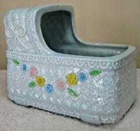 Vintage 1950s Napco Ceramic Baby Bassinet Vase Planter Blue Floral Design Japan