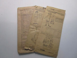 vtg 1906 Pictorial Review Patterns(3)Full Bloomers, Dresses Sizes 1,2,6. antique