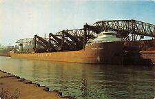 GARY INDIANA GARY STEEL WORKS~IRON ORE CARRIER PHILIP CLARKE  POSTCARD c1960s
