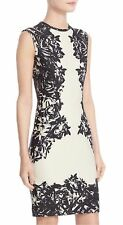 $890 NWT Yigal Azrouel Floral Print Scuba Sheath Dress Multi-color Size 8