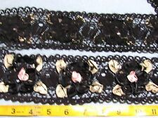 "1-3/4 yards - 2-3/4""  WIDE BLACK  RIBBON FLOWERS ON LACE TRIM FOR SEWING, CRAFTS"