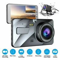 4'' 1080P Dual Lens Car DVR Dash Cam Video Recorder Front LCD and Rear Came L1F0
