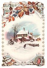 LARGE ANTIQUE DIE CUT TRADE CARD KENNY TEA & COFFEE WINTER SCENE FARM SNOW SLED