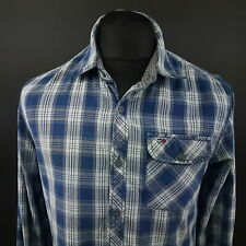 Tommy Hilfiger Mens Casual Shirt XS Long Sleeve Blue Regular Fit Check Cotton