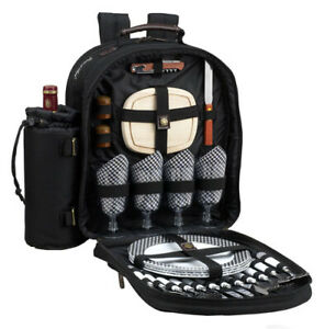 Picnic at Ascot 081-BLK Classic Picnic Backpack for 4 in Black with Gingham Napk