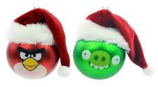 ANGRY BIRDS Glass Christmas Ornament SET Santa Hat RED BIRD & GREEN PIG NOT TOYS