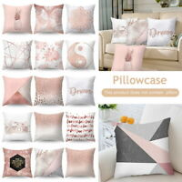 Cushion Covers Rose Gold Pink Grey Geometric Marble Pillow Case Sofa Home Decor~