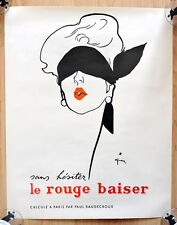 "orginal Werbe Plakat Poster ""le rouge baiser"" Rene Gruau 1949 sehr selten rare"
