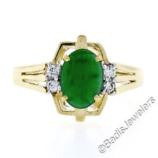 18K Yellow Gold Oval Cabochon Jade Solitaire & .10ctw F VS Diamond Accents Ring