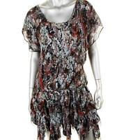 CATHERINE MALANDRINO $499 MULTI COLOR SILK PRINTED FLUTTER COCKTAIL DRESS 4 NWT