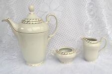 White/Gold Teapot/Creamer/Sugar Fine Bohemian Porcelain Czechoslovakia (521)