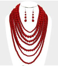 Large Dark Red Pearl Long Bib Multi Layered Strand Bead Necklace Earring Set