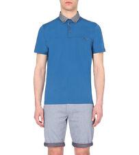 Men's Authentic Ted Baker HAZDEB Geometric Collar Mid Blue Polo Shirt Size 3 -M