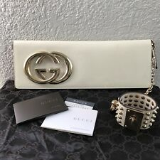 RARE NEW NWT Gucci Logo GG Tom Ford White Patent Leather Studded Cuff Clutch