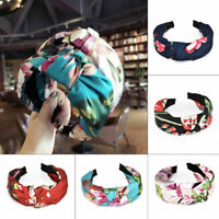 Women Floral Twist Headband Knotted Hairband Elastic Turban Hair Band Head Hoop