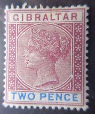 Gibraltar 1898 2d Marrón-Púrpura & Azul ultramar SG 41. Menta montado.