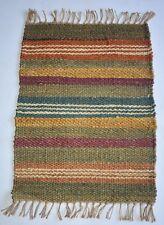 Striped Rectangle Jute(Hemp) Multi Coloured Out/ In Door Mat, 50x80 Cm,