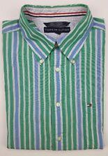 Tommy Hilfiger XL Shirt Striped Multicolor Blue Green Mens Size Cotton Oxford Sz