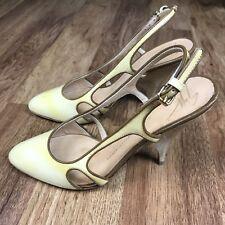 GIUSEPPE ZANOTTI Patent Leather Cutout Wedge Slingback Wood Heel Pumps Sz 36.5