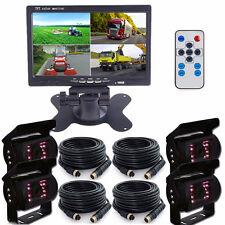 "7"" Split Quad Car Monitor 4 Video+4x 33 Ft 4Pin Truck CCD Backup Camera 24V-12V"