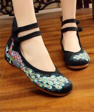 black peacock embroidered flat 6.5