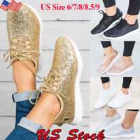 Women's Sequin Glitter Tennis Sneakers Ladies Casual Athletic Comfort Shoes Size