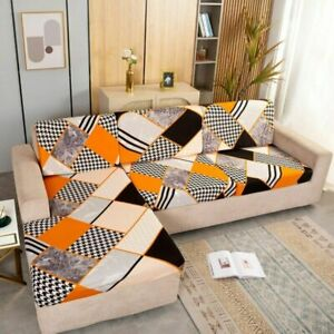 Sofa Slipcover Geometric Elastic Corner Chaise Couch Cover Lounge 1/2/3/4 Seater
