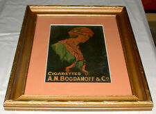 Rare Original 1920's A.N. Bogdanoff Russian Framed Cigarettes Advertising  Sign