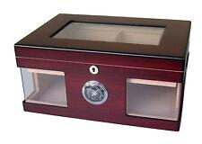 Humidor Angelo 3 Glasfenster Holzdekor ca 130 Zigarren Acrylpolymer-Befeuchter