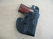 Browning 1911 22  Leather Clip On OWB Belt Concealment Holster CCW - BLACK RH