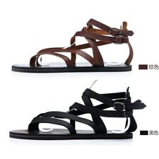 Mens Boys Gladiator Punk Slippers Summer Leather Sandals Buckle New Shoes Chic