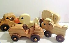 Handcrafted Wooden Animals On Wheels
