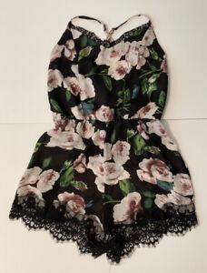 Small Black Romper Multi-Color Floral Lace Trim, Zip Back Shorts