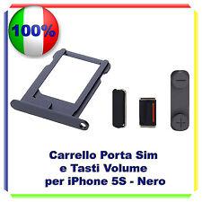 SLOT PORTA SIM TRAY PORTA SCHEDA + KIT TASTI VOLUME POWER  IPHONE 5S NERO