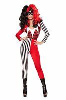 Roma Mischievous Jester Joker Red Black & White Catsuit Costume 10046 ~ SALE