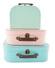 Sass & Belle Set 3 Retro Pastel Suitcases Cases Feminine Blue Pink Storage