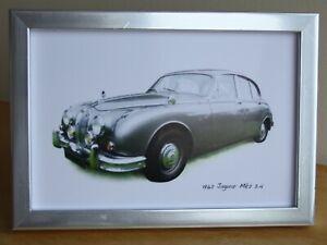 Jaguar Mk2 2.4 1962 (Grey) - 4 x 6in Photo in Black, White or Silvery Frame