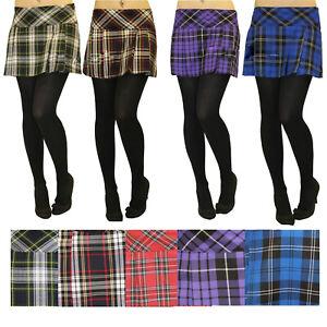 """New 14"""" Ladies Short Tartan Skirts Box Micro Mini Pleat Pleated Skirt UK 8-18"""