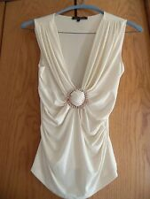 Heart Moon Star Ivory Ruched Side Tank Top Sz  S