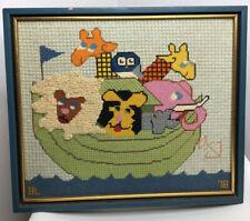 Vtg Needlepoint Picture Noah's Ark Lion Giraffe Elephant Nursery Kids Room