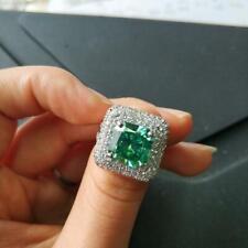 12.66Ct Gemstone Engagement Cushion Cut Emerald 925 Silver Bridal Eternity Ring