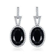 HUCHE Fashion Oval Black Sapphire Gemstone Silver Dangle Women Banquet Earrings